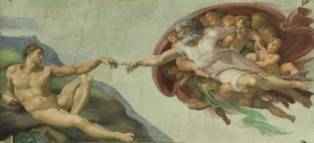 Бог протягивает руку помощи Адаму